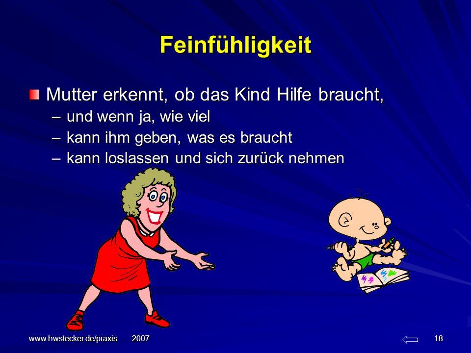 www.hwstecker.de/praxis 2007 18 Feinfühligkeit Mutter erkennt, ob das Kind Hilfe braucht, –und wenn ja, wie viel –kann ihm geben, was es braucht –kann