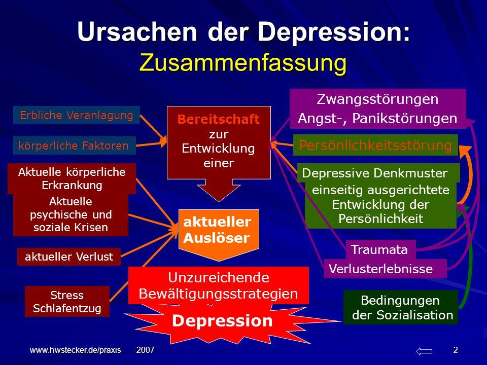 www.hwstecker.de/praxis 2007 2 Ursachen der Depression: Zusammenfassung Erbliche Veranlagung Traumata körperliche Faktoren einseitig ausgerichtete Ent