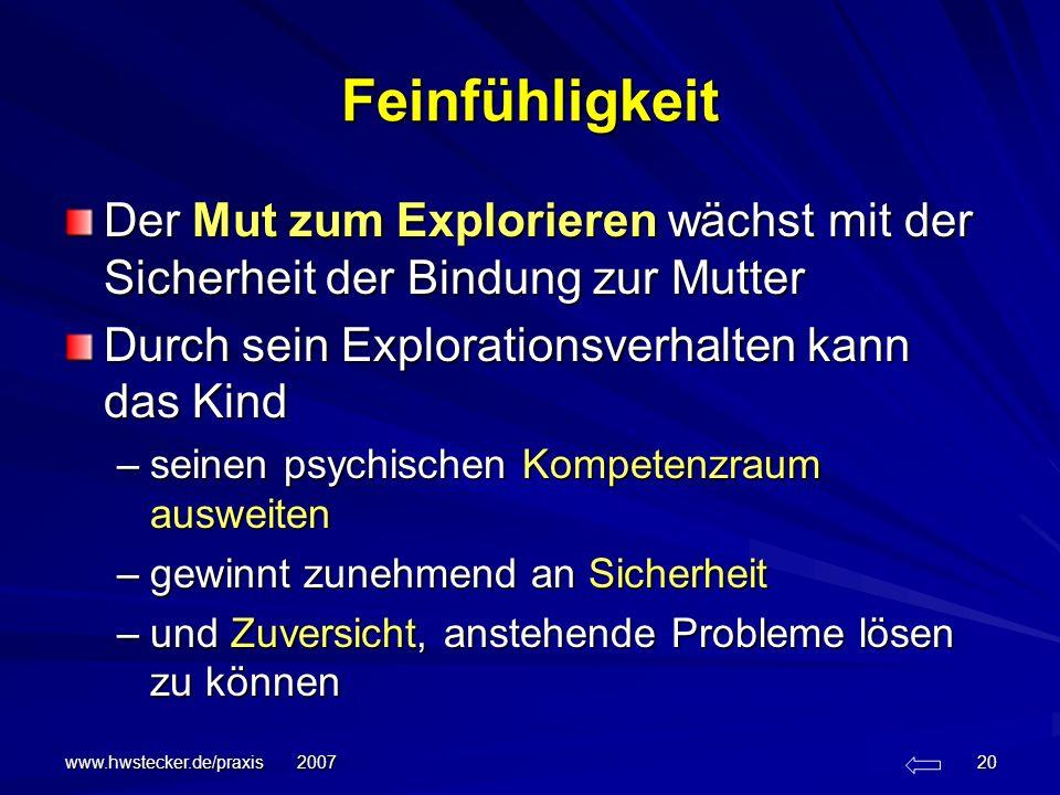 www.hwstecker.de/praxis 2007 20 Feinfühligkeit Der Mut zum Explorieren wächst mit der Sicherheit der Bindung zur Mutter Durch sein Explorationsverhalt