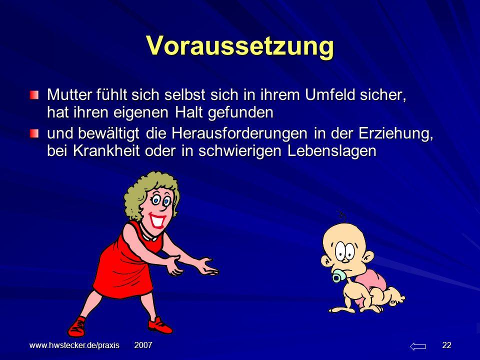www.hwstecker.de/praxis 2007 22 Voraussetzung Mutter fühlt sich selbst sich in ihrem Umfeld sicher, hat ihren eigenen Halt gefunden und bewältigt die