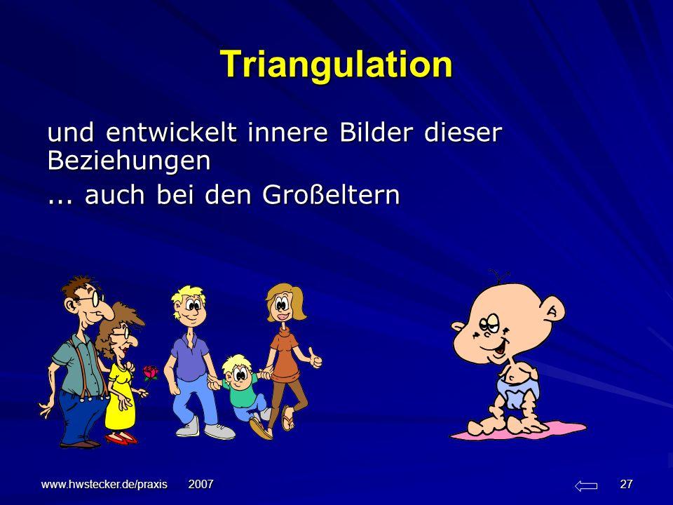 www.hwstecker.de/praxis 2007 27 Triangulation und entwickelt innere Bilder dieser Beziehungen... auch bei den Großeltern