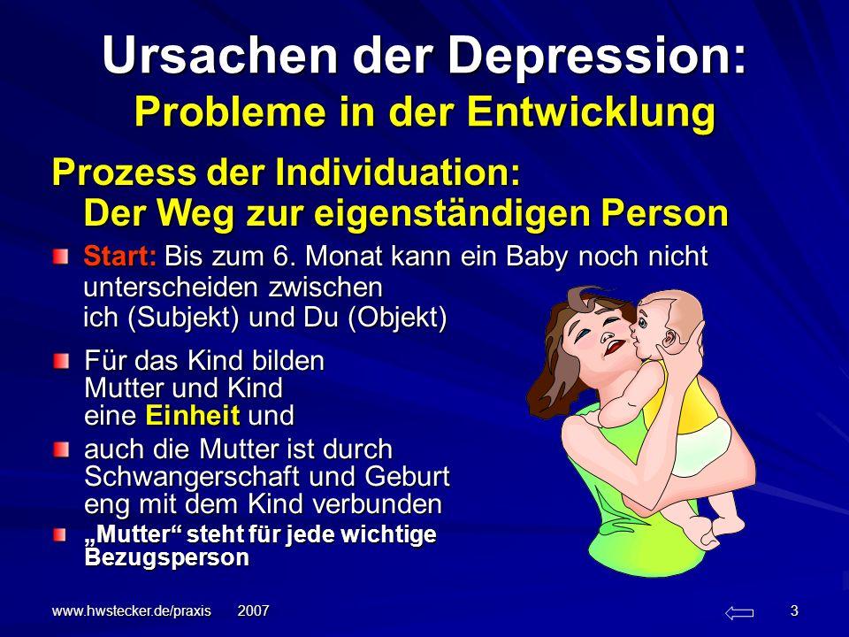 www.hwstecker.de/praxis 2007 14 Der Prozess der Individuation Bis 18 Monate: durch zunehmende Entfernung von der Mutter wächst die Angst vor Neuem: wachsende Angst vor Trennung und Verlust