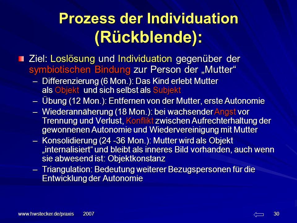 www.hwstecker.de/praxis 2007 30 Ziel: Loslösung und Individuation gegenüber der symbiotischen Bindung zur Person der Mutter –Differenzierung (6 Mon.):