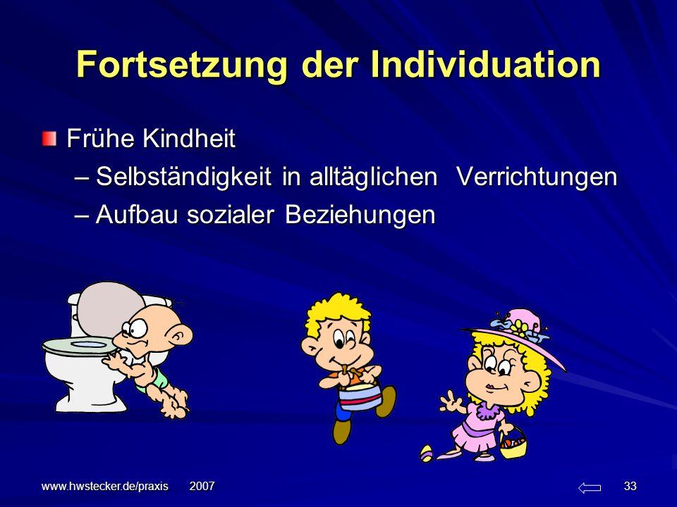 www.hwstecker.de/praxis 2007 33 Fortsetzung der Individuation Frühe Kindheit –Selbständigkeit in alltäglichen Verrichtungen –Aufbau sozialer Beziehung
