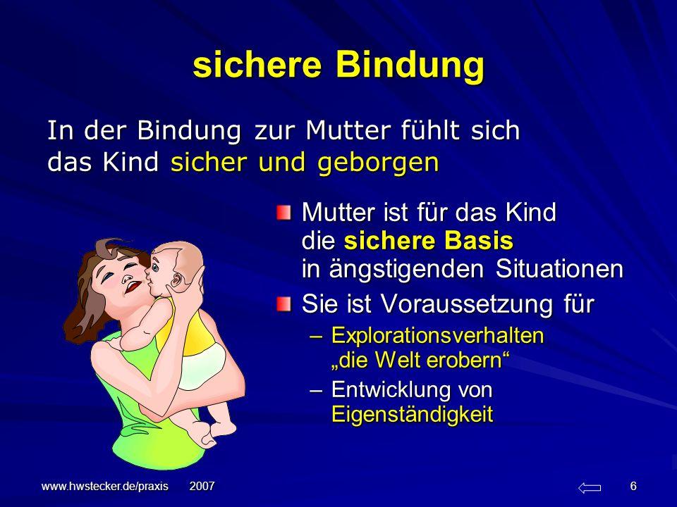 www.hwstecker.de/praxis 2007 17 Feinfühligkeit Feinfühligkeit ist die Fähigkeit des Erwachsenen, –die Signale und Kommunikationen, die im Verhalten des Kindes enthalten sind, – richtig wahrzunehmen und zu interpretieren, –und wenn dieses Verständnis vorhanden ist, –auf sie angemessen und prompt zu reagieren.