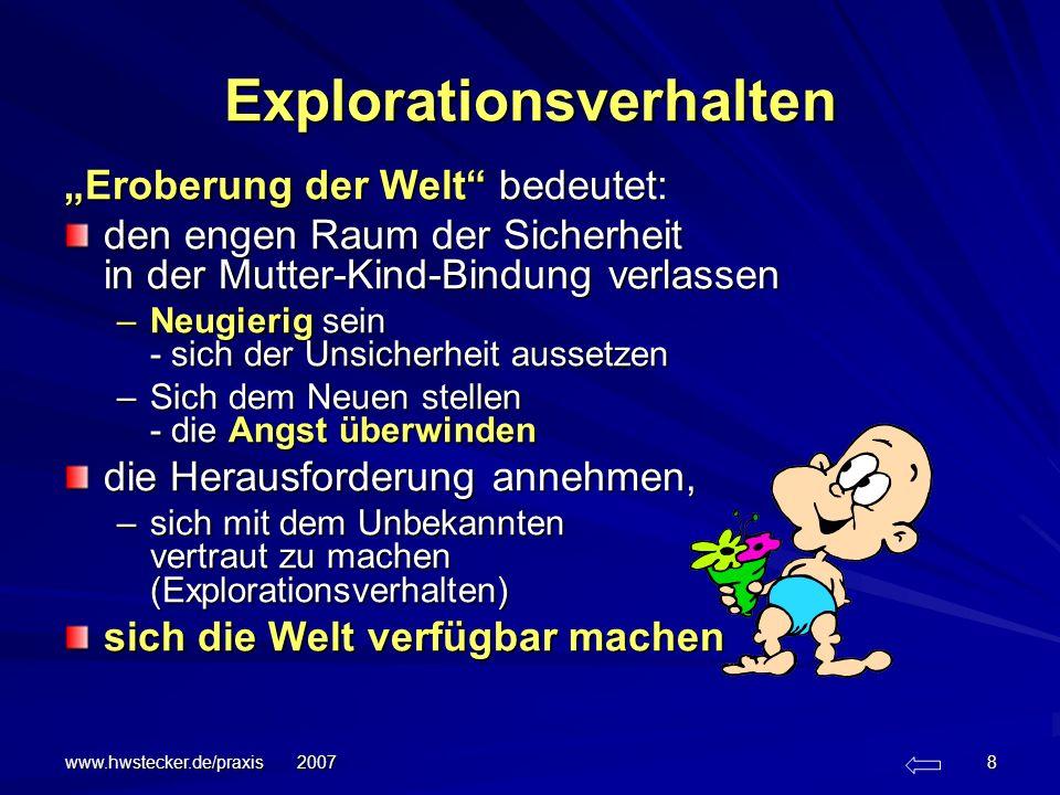 www.hwstecker.de/praxis 2007 9 Bindung Ergebnis der Bindungsforschung: Jedes Kind ist mit der Fähigkeit ausgestattet, Bindungsverhalten zu zeigen: –zur Sicherheitsbasis zu gehen, –sich dort Beruhigung zu holen, –um dann wieder neugierig sein zu können, –die Welt zu explorieren.