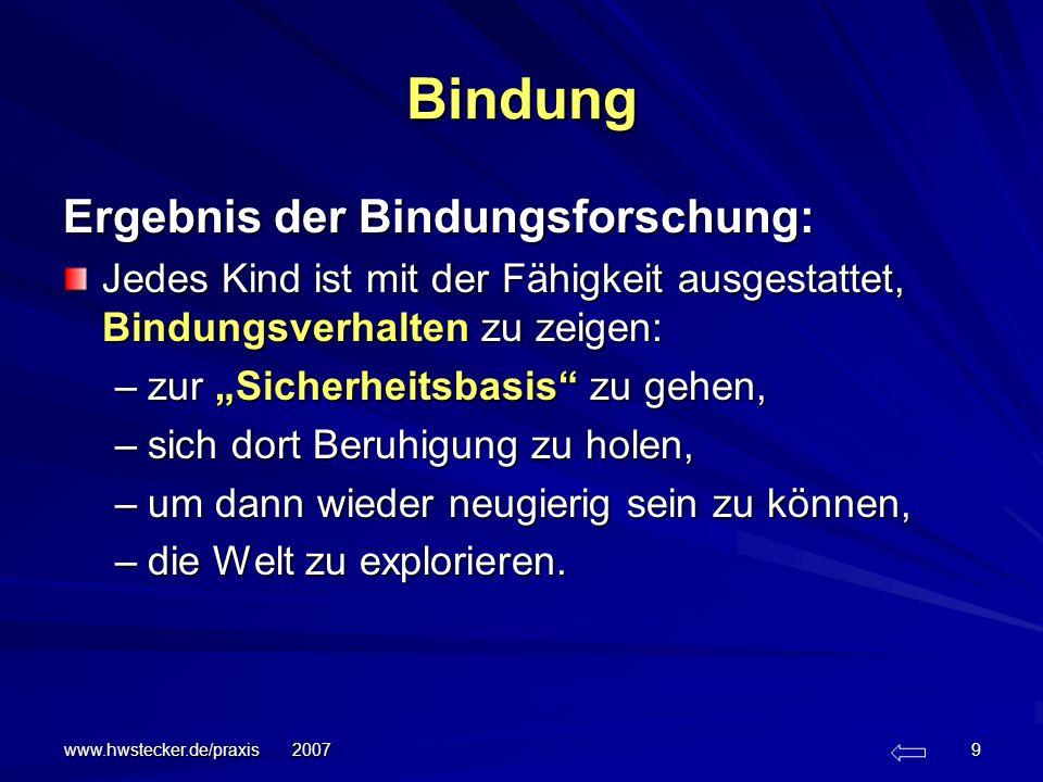 www.hwstecker.de/praxis 2007 9 Bindung Ergebnis der Bindungsforschung: Jedes Kind ist mit der Fähigkeit ausgestattet, Bindungsverhalten zu zeigen: –zu