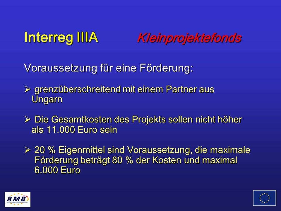 Interreg IIIA Kleinprojektefonds Voraussetzung für eine Förderung: grenzüberschreitend mit einem Partner aus grenzüberschreitend mit einem Partner aus Ungarn Ungarn Die Gesamtkosten des Projekts sollen nicht höher Die Gesamtkosten des Projekts sollen nicht höher als 11.000 Euro sein als 11.000 Euro sein 20 % Eigenmittel sind Voraussetzung, die maximale Förderung beträgt 80 % der Kosten und maximal 6.000 Euro 20 % Eigenmittel sind Voraussetzung, die maximale Förderung beträgt 80 % der Kosten und maximal 6.000 Euro
