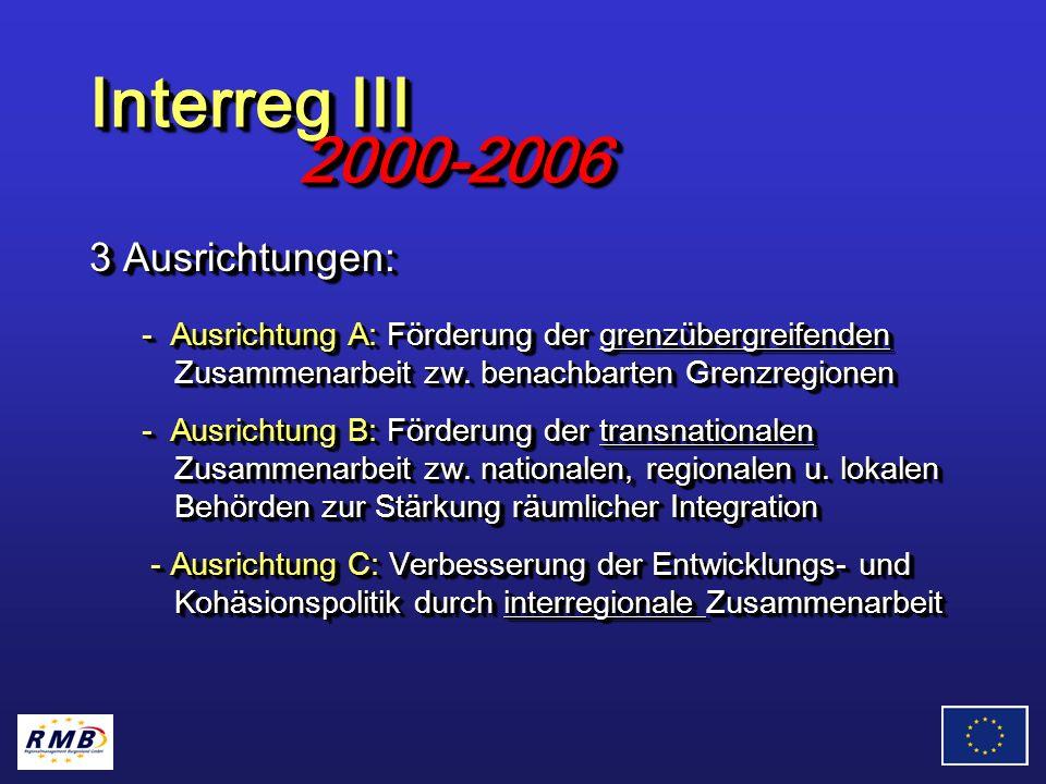 3 Ausrichtungen: - Ausrichtung A: Förderung der grenzübergreifenden Zusammenarbeit zw.