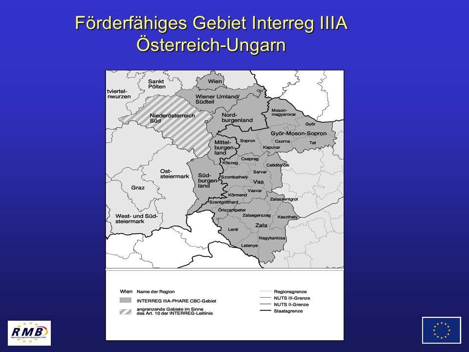 Förderfähiges Gebiet Interreg IIIA Österreich-Ungarn
