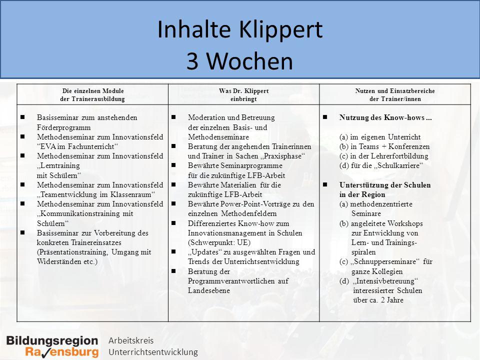 Arbeitskreis Unterrichtsentwicklung Inhalte Klippert 3 Wochen Die einzelnen Module der Trainerausbildung Was Dr. Klippert einbringt Nutzen und Einsatz