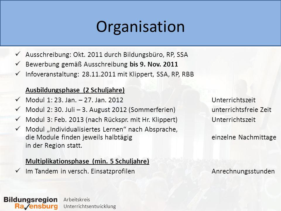 Arbeitskreis Unterrichtsentwicklung Organisation Ausschreibung: Okt. 2011 durch Bildungsbüro, RP, SSA Bewerbung gemäß Ausschreibung bis 9. Nov. 2011 I