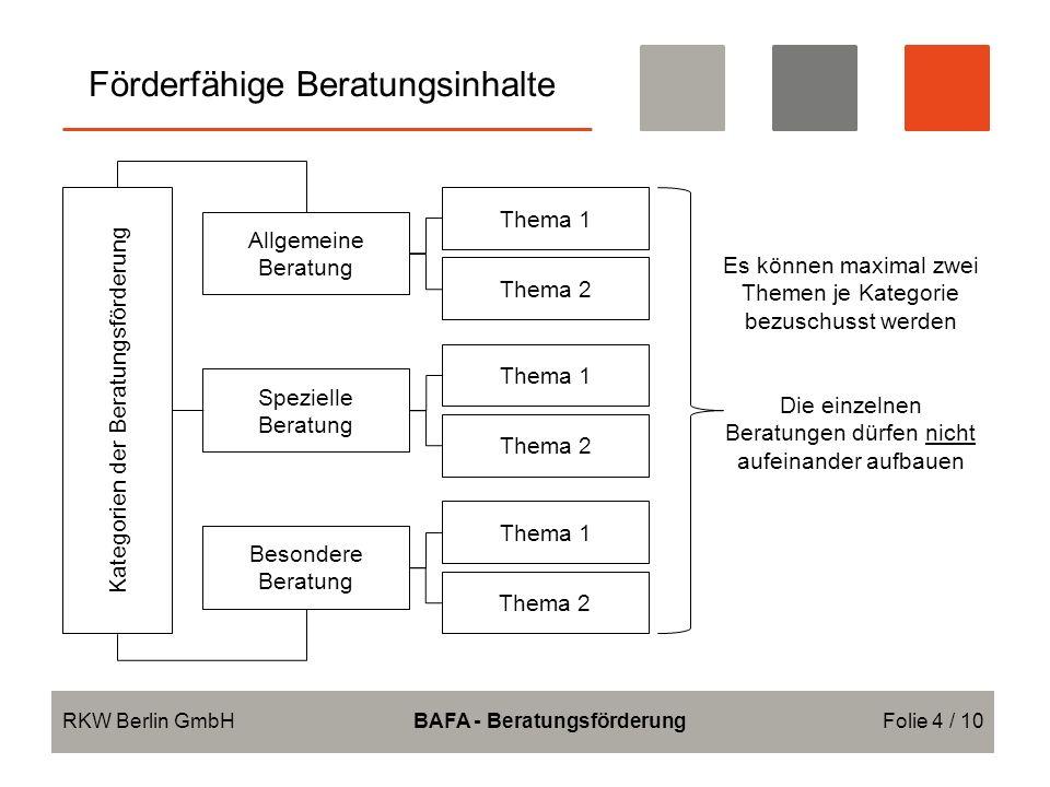 Förderfähige Beratungsinhalte RKW Berlin GmbHBAFA - BeratungsförderungFolie 4 / 10 Allgemeine Beratung Spezielle Beratung Besondere Beratung Kategorien der Beratungsförderung Thema 1 Thema 2 Thema 1 Thema 2 Thema 1 Thema 2 Es können maximal zwei Themen je Kategorie bezuschusst werden Die einzelnen Beratungen dürfen nicht aufeinander aufbauen