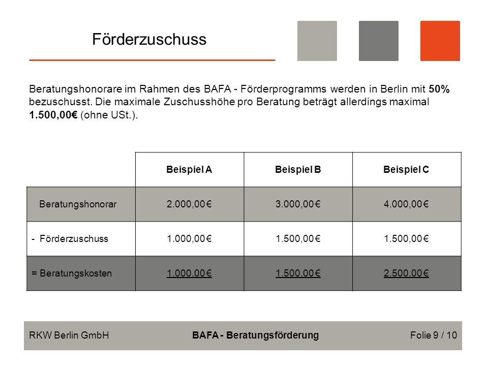 Förderzuschuss RKW Berlin GmbHBAFA - BeratungsförderungFolie 9 / 10 Beratungshonorare im Rahmen des BAFA - Förderprogramms werden in Berlin mit 50% bezuschusst.