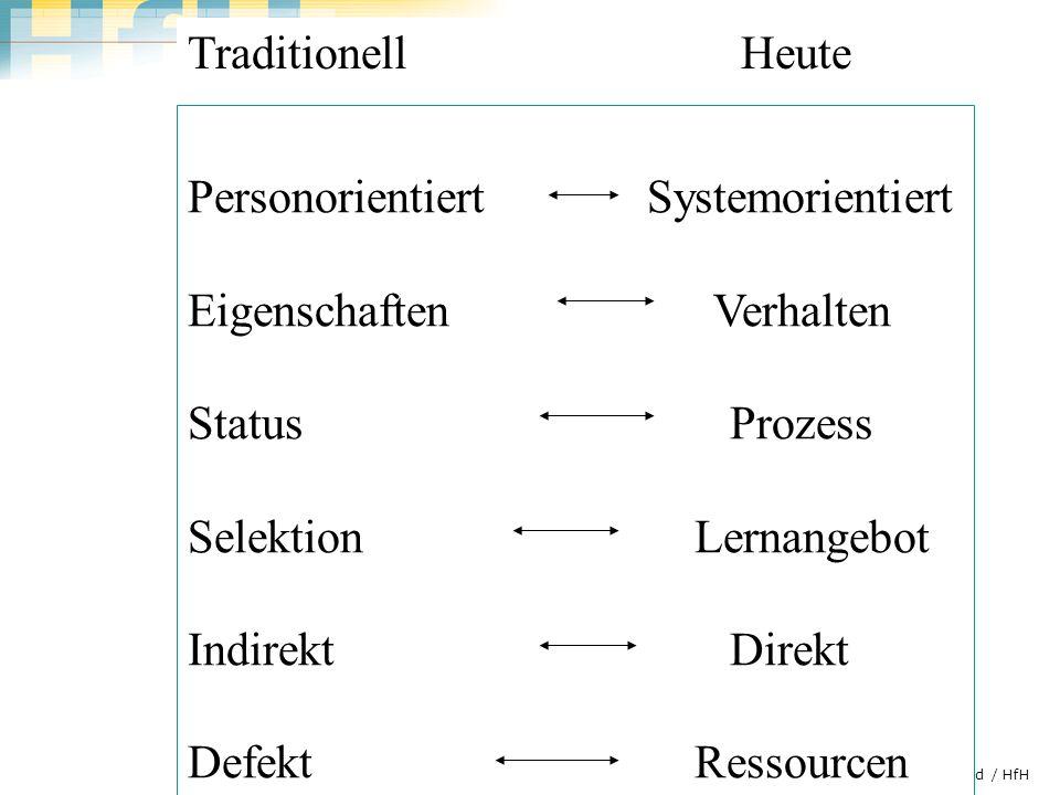 Personorientiert Systemorientiert Eigenschaften Verhalten Status Prozess Selektion Lernangebot Indirekt Direkt Defekt Ressourcen Traditionell Heute