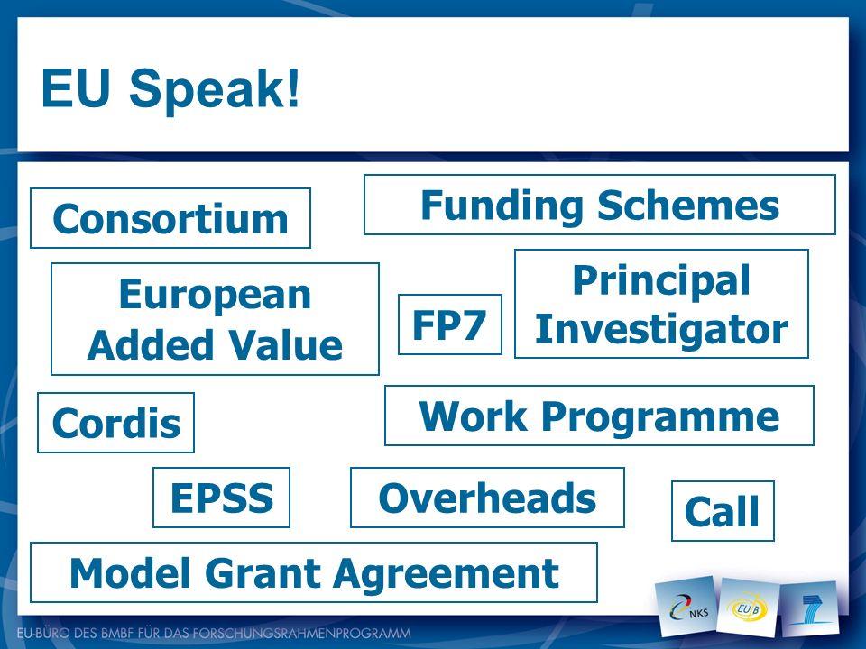 EU Speak! Work Programme Consortium European Added Value Cordis EPSS Model Grant Agreement Call Funding Schemes Overheads FP7 Principal Investigator
