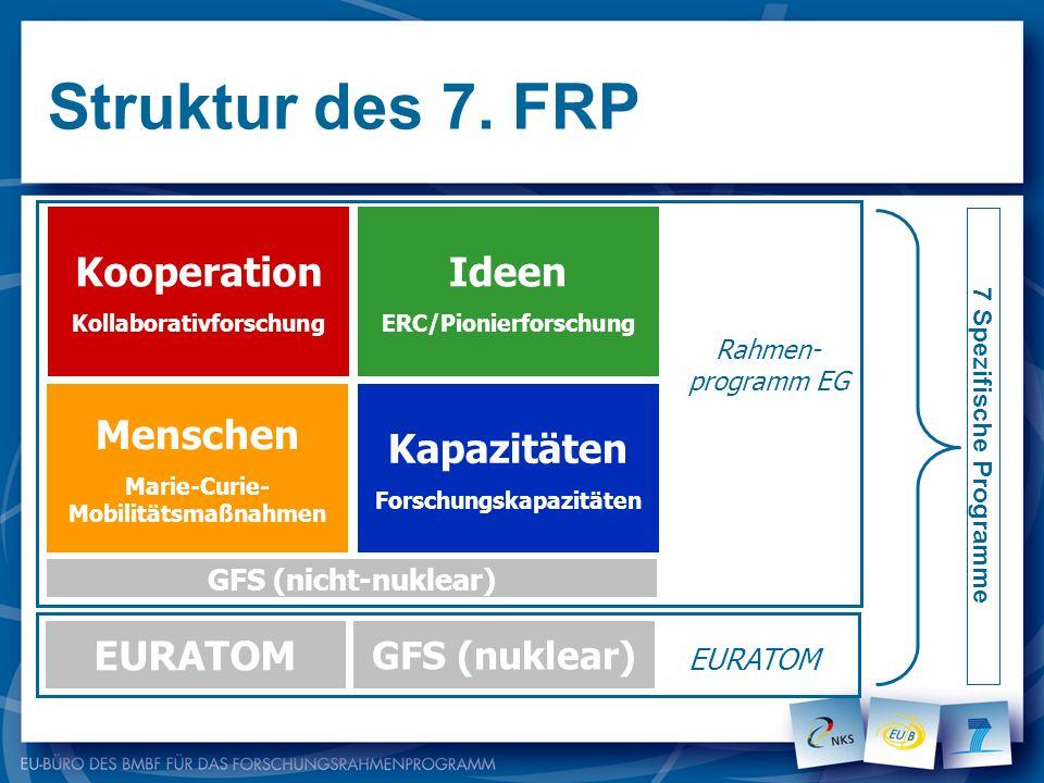 Struktur des 7. FRP Kooperation Kollaborativforschung Ideen ERC/Pionierforschung Menschen Marie-Curie- Mobilitätsmaßnahmen Kapazitäten Forschungskapaz