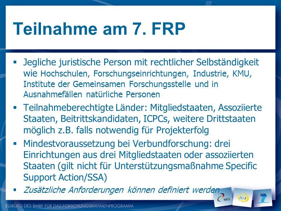 Teilnahme am 7. FRP Jegliche juristische Person mit rechtlicher Selbständigkeit wie Hochschulen, Forschungseinrichtungen, Industrie, KMU, Institute de
