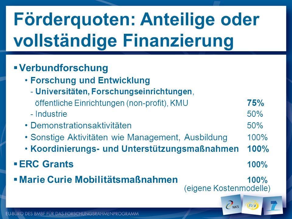 Förderquoten: Anteilige oder vollständige Finanzierung Verbundforschung Forschung und Entwicklung - Universitäten, Forschungseinrichtungen, öffentlich