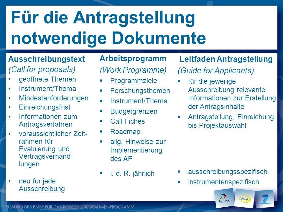 Für die Antragstellung notwendige Dokumente Ausschreibungstext (Call for proposals) geöffnete Themen Instrument/Thema Mindestanforderungen Einreichung