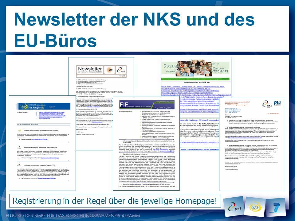 Newsletter der NKS und des EU-Büros Registrierung in der Regel über die jeweilige Homepage!