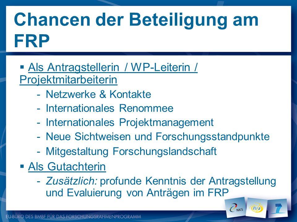 Chancen der Beteiligung am FRP Als Antragstellerin / WP-Leiterin / Projektmitarbeiterin -Netzwerke & Kontakte -Internationales Renommee -International