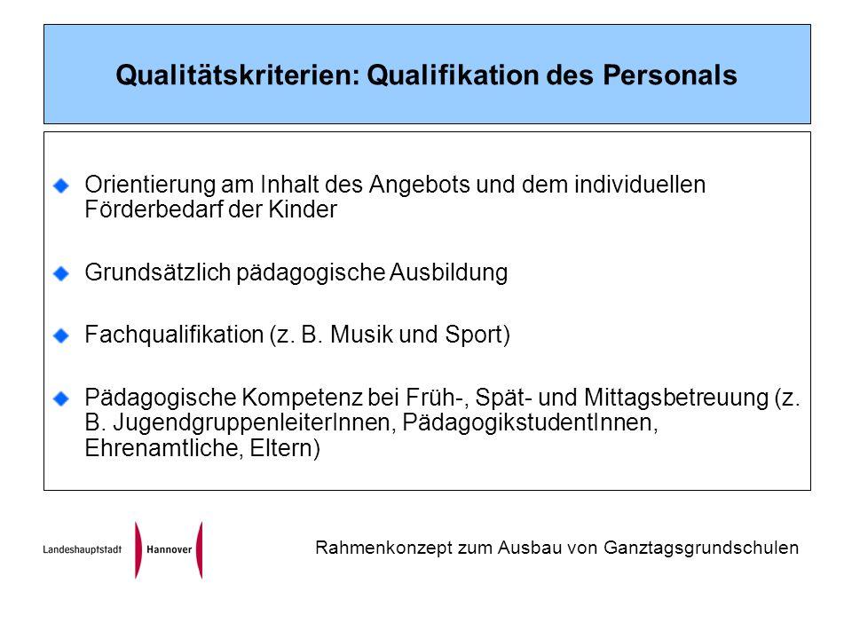 Qualitätskriterien: Qualifikation des Personals Orientierung am Inhalt des Angebots und dem individuellen Förderbedarf der Kinder Grundsätzlich pädagogische Ausbildung Fachqualifikation (z.