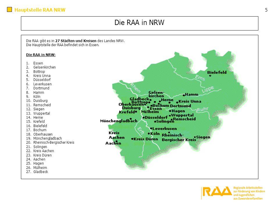 Die RAA in NRW Die RAA gibt es in 27 Städten und Kreisen des Landes NRW. Die Hauptstelle der RAA befindet sich in Essen. Die RAA in NRW: 1. Essen 2. G