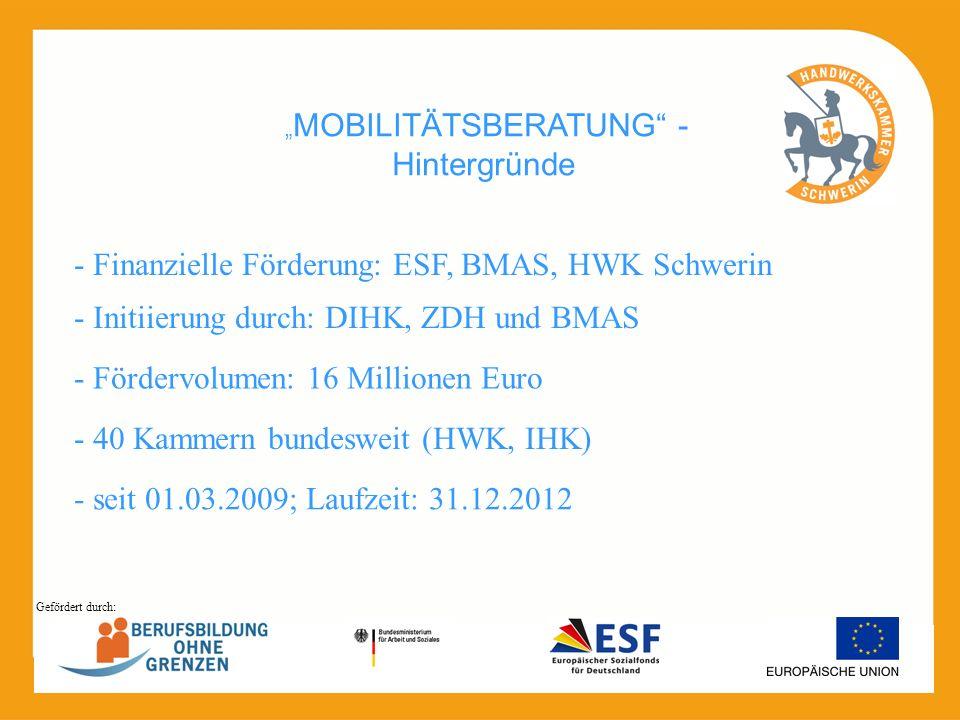 MOBILITÄTSBERATUNG - Hintergründe - seit 01.03.2009; Laufzeit: 31.12.2012 - Initiierung durch: DIHK, ZDH und BMAS - 40 Kammern bundesweit (HWK, IHK) -