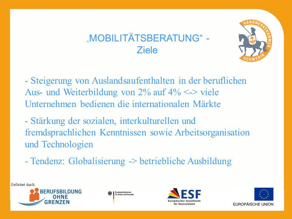 MOBILITÄTSBERATUNG - Ziele - Steigerung von Auslandsaufenthalten in der beruflichen Aus- und Weiterbildung von 2% auf 4% viele Unternehmen bedienen di
