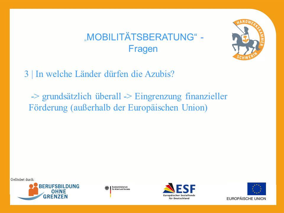 MOBILITÄTSBERATUNG - Fragen -> grundsätzlich überall -> Eingrenzung finanzieller Förderung (außerhalb der Europäischen Union) 3 | In welche Länder dür