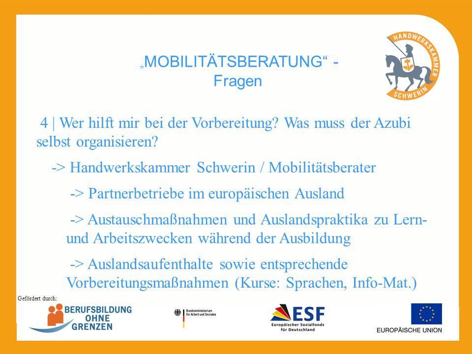 MOBILITÄTSBERATUNG - Fragen -> Handwerkskammer Schwerin / Mobilitätsberater 4 | Wer hilft mir bei der Vorbereitung? Was muss der Azubi selbst organisi