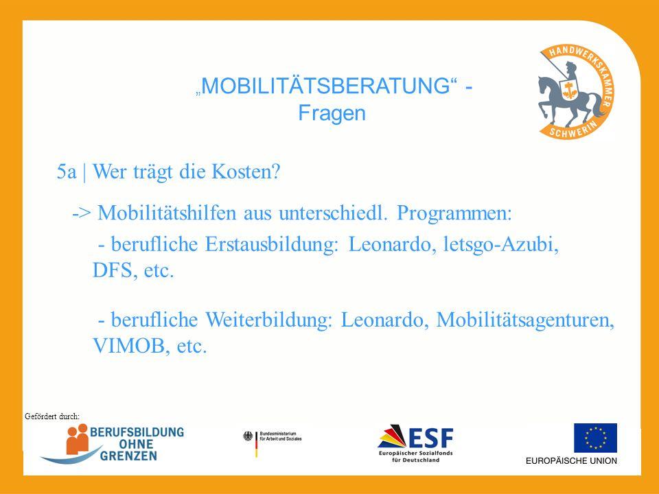 MOBILITÄTSBERATUNG - Fragen -> Mobilitätshilfen aus unterschiedl. Programmen: 5a | Wer trägt die Kosten? - berufliche Erstausbildung: Leonardo, letsgo