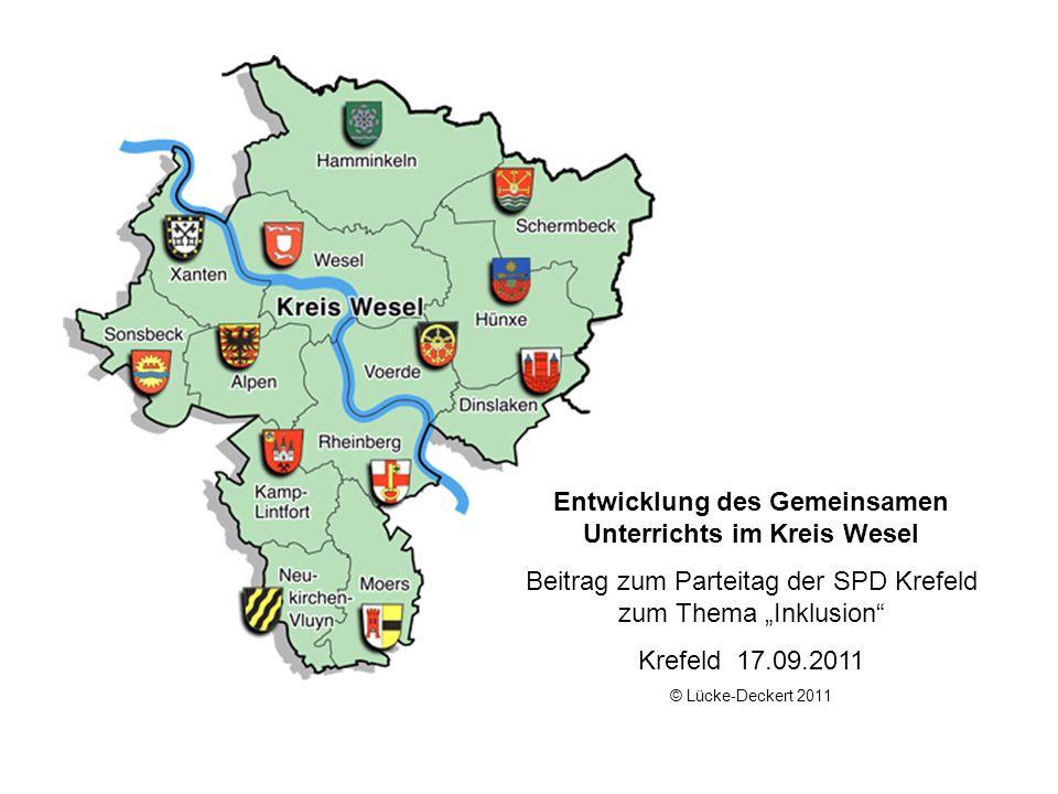 Entwicklung des Gemeinsamen Unterrichts im Kreis Wesel Beitrag zum Parteitag der SPD Krefeld zum Thema Inklusion Krefeld 17.09.2011 © Lücke-Deckert 20