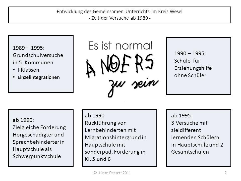 Entwicklung des Gemeinsamen Unterrichts im Kreis Wesel - Zeit der Versuche ab 1989 - 1989 – 1995: Grundschulversuche in 5 Kommunen I-Klassen Einzelint