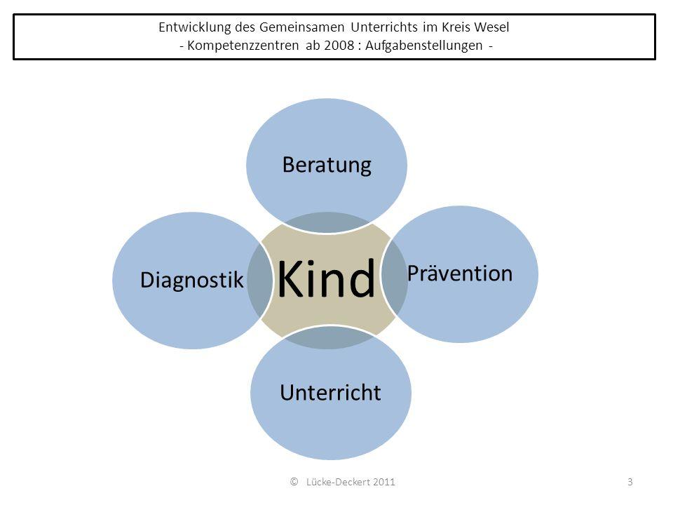 3 Entwicklung des Gemeinsamen Unterrichts im Kreis Wesel - Kompetenzzentren ab 2008 : Aufgabenstellungen - Kind Beratung Prävention Unterricht Diagnos