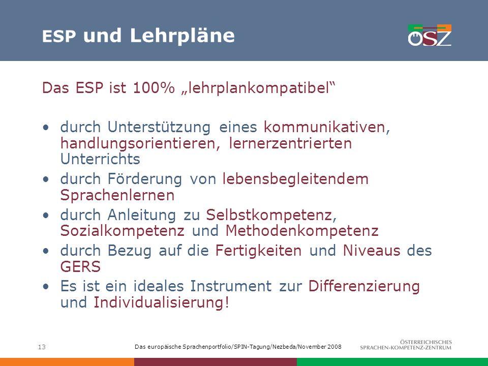Das europäische Sprachenportfolio/SPIN-Tagung/Nezbeda/November 2008 13 ESP und Lehrpläne Das ESP ist 100% lehrplankompatibel durch Unterstützung eines