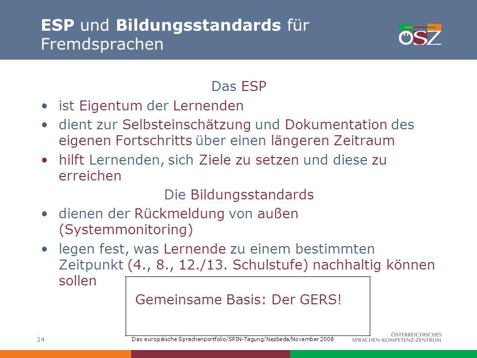 Das europäische Sprachenportfolio/SPIN-Tagung/Nezbeda/November 2008 14 ESP und Bildungsstandards für Fremdsprachen Das ESP ist Eigentum der Lernenden