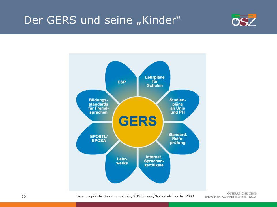 Das europäische Sprachenportfolio/SPIN-Tagung/Nezbeda/November 2008 15 Der GERS und seine Kinder
