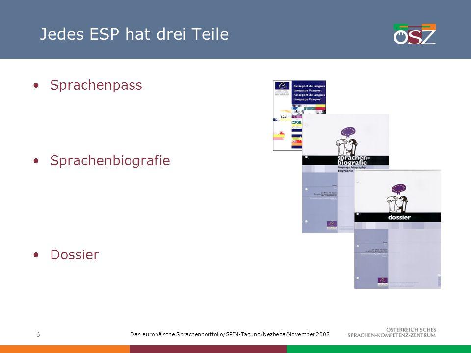 Das europäische Sprachenportfolio/SPIN-Tagung/Nezbeda/November 2008 6 Jedes ESP hat drei Teile Sprachenpass Sprachenbiografie Dossier