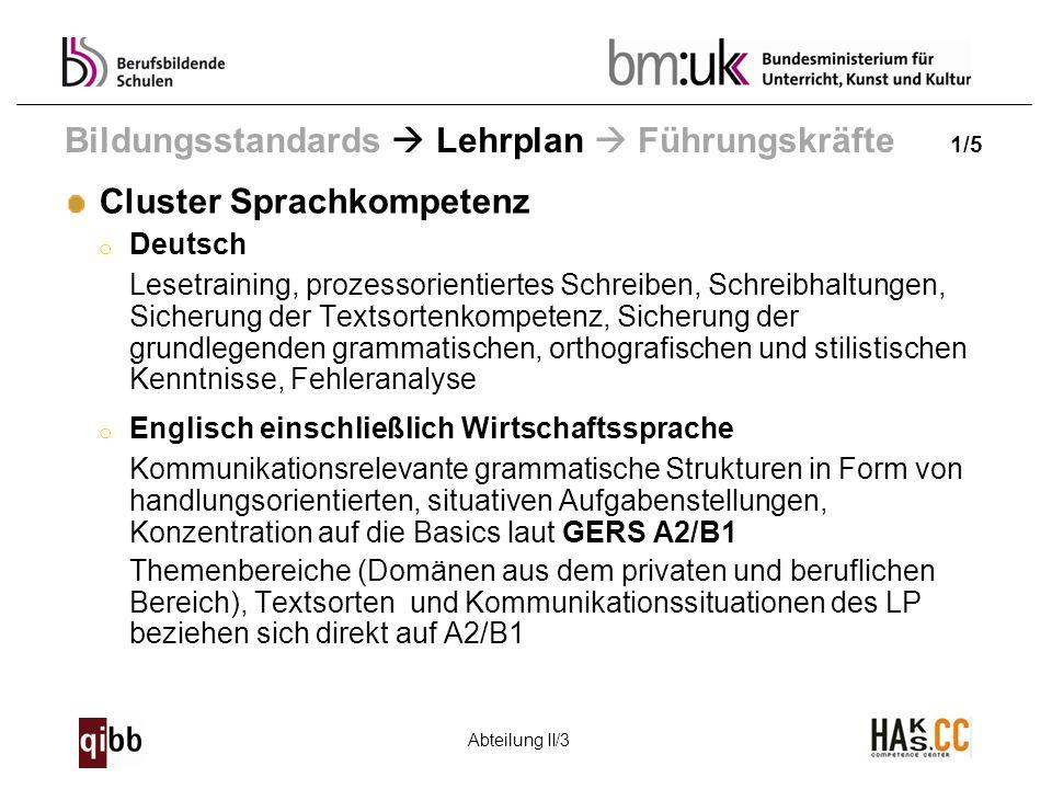Abteilung II/3 Bildungsstandards Lehrplan Führungskräfte 1/5 Cluster Sprachkompetenz o Deutsch Lesetraining, prozessorientiertes Schreiben, Schreibhal
