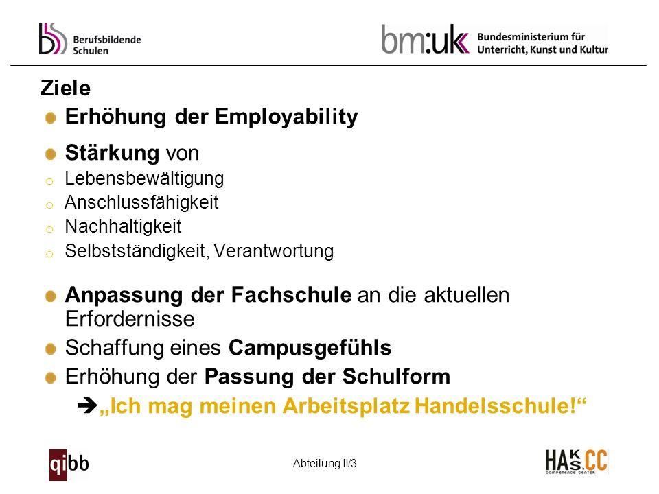 Abteilung II/3 Ziele Erhöhung der Employability Stärkung von o Lebensbewältigung o Anschlussfähigkeit o Nachhaltigkeit o Selbstständigkeit, Verantwort