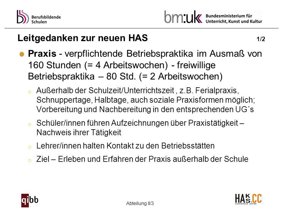 Abteilung II/3 Leitgedanken zur neuen HAS 1/2 Praxis - verpflichtende Betriebspraktika im Ausmaß von 160 Stunden (= 4 Arbeitswochen) - freiwillige Bet