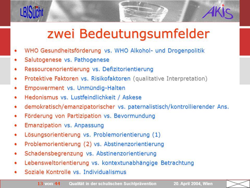 13 von 44 Qualität in der schulischen Suchtprävention 20. April 2004, Wien zwei Bedeutungsumfelder WHO Gesundheitsförderung vs. WHO Alkohol- und Droge