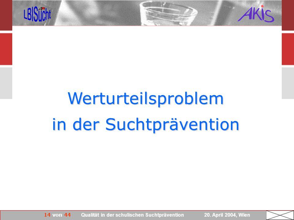 14 von 44 Qualität in der schulischen Suchtprävention 20. April 2004, Wien Werturteilsproblem in der Suchtprävention