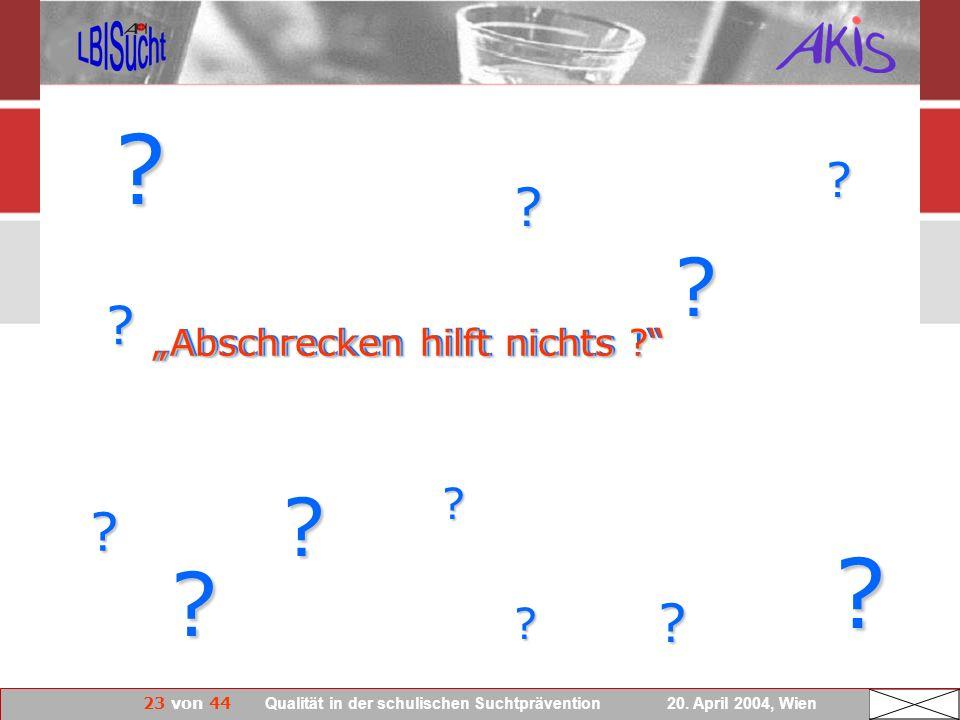 23 von 44 Qualität in der schulischen Suchtprävention 20. April 2004, Wien Abschrecken hilft nichts ! ? ? ? ? ? ? ? ? ? ? ? ? Abschrecken hilft nichts