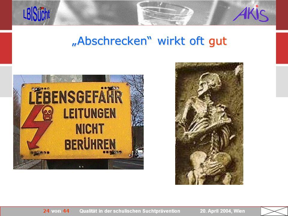 24 von 44 Qualität in der schulischen Suchtprävention 20. April 2004, Wien Abschrecken wirkt oft gut