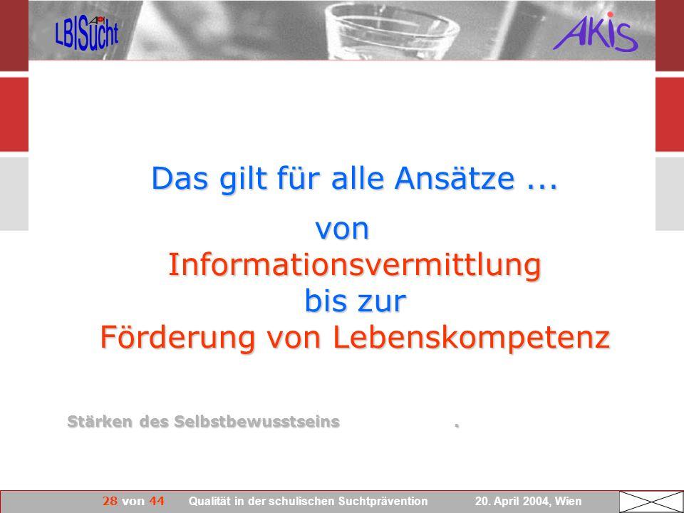 28 von 44 Qualität in der schulischen Suchtprävention 20. April 2004, Wien Das gilt für alle Ansätze... von Informationsvermittlung bis zur Förderung