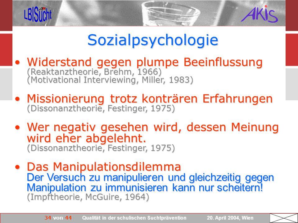 34 von 44 Qualität in der schulischen Suchtprävention 20. April 2004, Wien Sozialpsychologie Widerstand gegen plumpe Beeinflussung (Reaktanztheorie, B