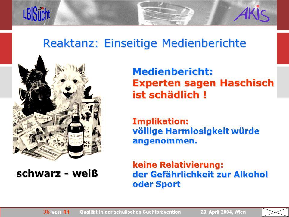 36 von 44 Qualität in der schulischen Suchtprävention 20. April 2004, Wien Reaktanz: Einseitige Medienberichte schwarz - weiß Medienbericht: Experten